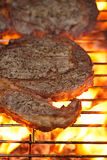 Food meat - rib eye beef steak on party summer barbecue grill wi Royalty Free Stock Photos