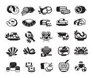 Food. Meat, seafood, baked goods. Set of icons Stock Photography