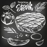Food meat, steak, roast, vegetable set, hand drawn vector illustration realistic sketch , drawn in chalk on a black. Board royalty free illustration