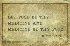 Food medicine Hippocrates. Let food be thy medicine and medicine be thy food - famous ancient Greek physician Hippocrates quote printed on grunge vintage Royalty Free Stock Images