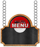 Food Menu - Blackboard with Chain Royalty Free Stock Image