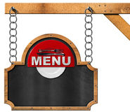 Food Menu - Blackboard with Chain Stock Photo