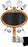 Food Menu - Blackboard with Hand of Waiter Royalty Free Stock Image