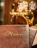 Food menu book in bar Royalty Free Stock Images