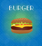 Food Menu Burger with Blue & Golden Background Stock Photo