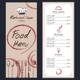 Food menu cafe  brochure. drawing template. Royalty Free Stock Image