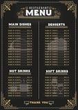 Food menu on chalkboard background Royalty Free Stock Image
