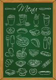 Food menu on the chalkboard Stock Image