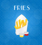 Food Menu Fries with Blue Background Stock Photo