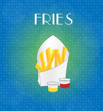 Food Menu Fries with Blue & Golden Background Royalty Free Stock Photos