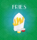 Food Menu Fries with Green & Blue Background Royalty Free Stock Photos