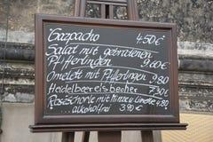 Food Menu in German Royalty Free Stock Photo
