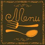 Food menu gold label. With fork and spoon Stock Images