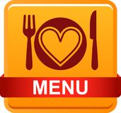 Food menu icon web button. Vector illustration isolated on white background Stock Illustration