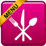 Food menu icon web button. Vector illustration isolated on white background Vector Illustration