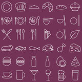 Food and menu  icons, outlined style Stock Photography