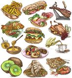 Food. Freehands, hand drawn collection. Line art. Stock Photos