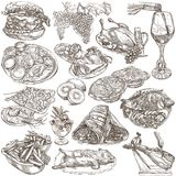 Food. Freehands, hand drawn collection. Line art. Royalty Free Stock Photos