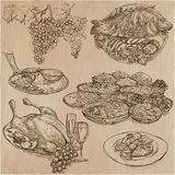 Food. Freehands, hand drawn collection. Line art. Royalty Free Stock Photography