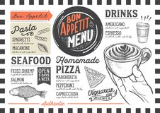 Food menu restaurant template. Food menu for restaurant and cafe. Design template with hand-drawn graphic illustrations Stock Photos