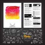 Food menu, restaurant template design. Flyer cafe. Brochure vint Stock Photos