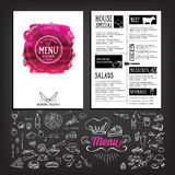 Food menu, restaurant template design. Flyer cafe. Brochure vint Stock Photo