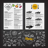 Food menu, restaurant template design. Flyer cafe. Brochure vint Stock Images