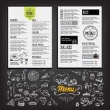 Food menu, restaurant template design. Flyer cafe. Brochure vint Stock Images