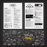 Food menu, restaurant template design. Flyer cafe. Brochure vint Stock Photos