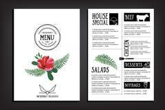 Food menu, restaurant template design. Flyer cafe. Brochure vint Royalty Free Stock Photo