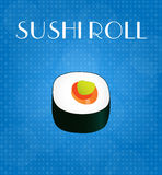 Food Menu Sushi Roll with Blue Background Stock Photography