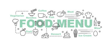 Food menu vector banner. Design concept, flat style with thin line art food icons on white background Stock Photos