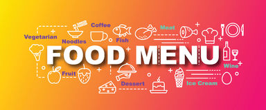 Food menu vector trendy banner. Design concept, modern style with thin line art food icons on trendy colors background Royalty Free Stock Photos