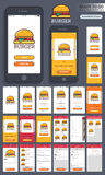 Food Mobile Apps User Interface layout. Material Design, UI, UX and GUI Screens for Food Mobile Apps including Login, Sign up, Find Stores, Search, My Cart Stock Images
