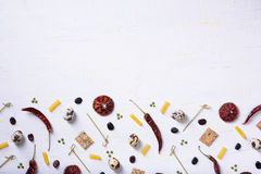 Food mock up menu, cooking ingredients frame. Gastronomy market background. Flat lay, top view, copy space. Stock Photo