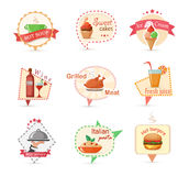 Food modern colorful labels Royalty Free Stock Images