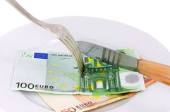 Food money. Concept of revenue sharing financial Royalty Free Stock Photos