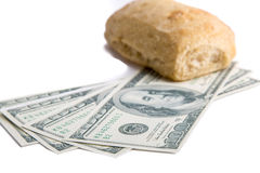 Food or Money. A picture of the fight against hunger Royalty Free Stock Photography