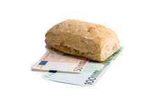 Food or Money. A picture of the fight against hunger Stock Photo