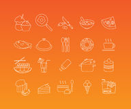 Food mono line icon set. Food and restaurant linear pictograms. Vector set of 20 icons in trendy mono line style Stock Images
