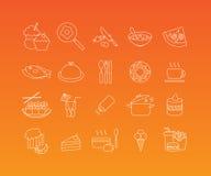 Food mono line icon set Stock Images