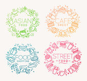 Food monograms color Stock Photography