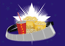 Food for a movie theater. Soda pop and popkorn that can it be better Royalty Free Stock Images