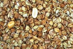Food muesli fried from grain and nuts royalty free stock photo
