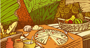 Food mural. An illustration of food mural Royalty Free Stock Photography