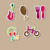 Food music bicycle relax square Royalty Free Stock Photo