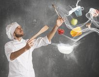 Food musical harmony. Chef creates a musical harmony with food stock photos