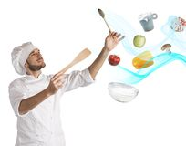 Food musical harmony. Chef creates a musical harmony with food Royalty Free Stock Photography