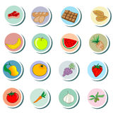 Food objects cartoon Icons Stock Images