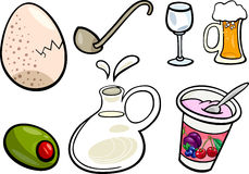 Food objects cartoon illustration set Stock Images